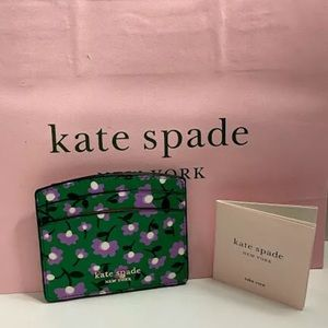 Kate Spade Wallet Green and Purples Flowers